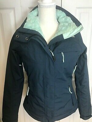 Women's The North Face HyVent Jacket Coat Navy Blue/Green Size XS