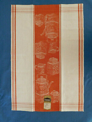 Vintage Kitchen Dish Tea Towel Cotton Linen Blend Teapot Czechoslovakia Unused