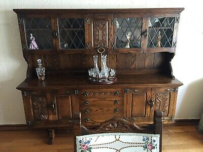 Antique 19th Century Carved Mahogany Sideboard - Galleried Top- Period