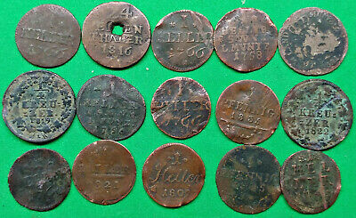 Lot of 15 Old World Europe Copper Coins 1735-1835 German Austria States?  !!