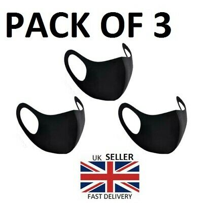 Pack of 3 Reusable Washable Breathable Face Masks Black Mask Unisex- UK Seller