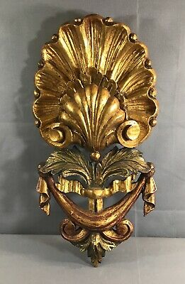 Antique Italian Carved Gilt Wood Wall Sconce Plate Holder