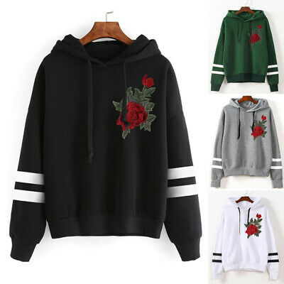 Women Hoodie Floral Embroidery Sweatshirt Jumper girls Hooded Pullover Coat Tops