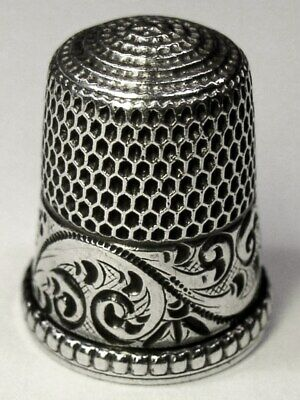"""Antique Simons Bros. Sterling Silver Thimble  """"Chased Running Scrolls""""  C1890s"""