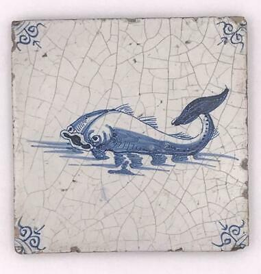 """Antique Delft Blue White Faience Pottery 5"""" Tile with Dolphin Fish"""