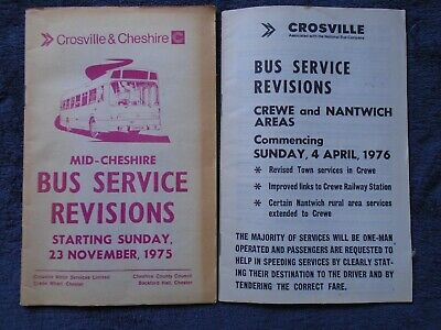 Two Crosville service revision leaflets in Cheshire