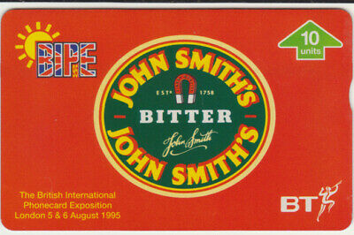 BT General 569 Beer, John Smith's Bitter 10 units, B.I.P.E. 1995, Mint phonecard