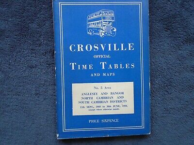Crosville Motors area 5 timetable Anglesey, Bangor, Cambrian areas, 11 Sept 1955