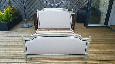 French Vintage Newly Upholstered Louis XVI Capitone Double BedFrame With Slats