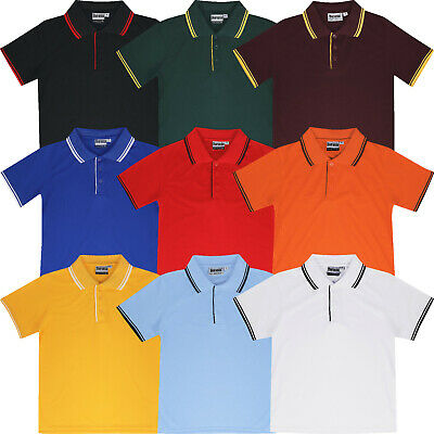 Kids Polo Shirts Plain Boys Girls Childrens Breathable Tipped Short Sleeve Tops