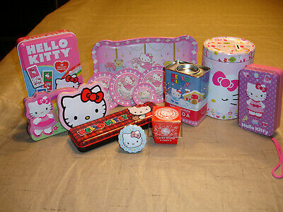 Hello Kitty Sanrio tin lot of 15: 1999 - 2015, Excellent to mint or sealed.