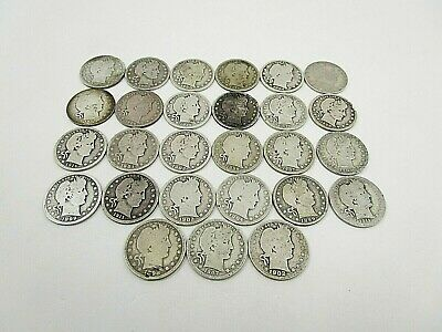 Lot Of 27 United States Barber Quarters 1892-1916 Average Circulated
