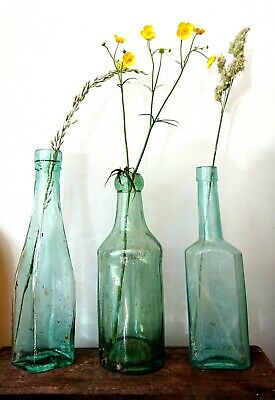 3 x Antique Vintage Glass Bottles vase flower original apothecary turquoise old
