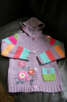 Girls NEXT Lilac / multi coloured comfy hooded cardigan Age 7-8 years