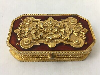 """Vintage Estee Lauder Perfume Compact Pill Box Red and Gold Tone  2.125"""""""