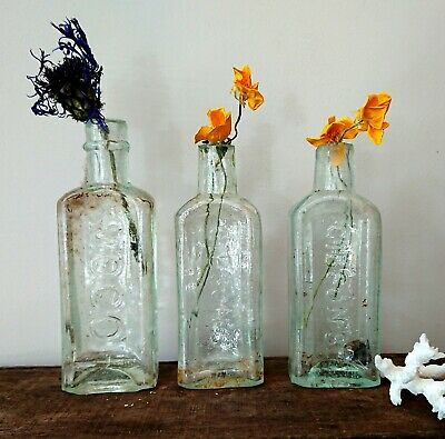 3 x Antique Vintage Glass Bottles vase flower original apothecary moco gibsons