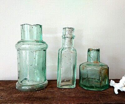 3 x Antique Vintage Glass Bottles vase flower original apothecary shaped ink