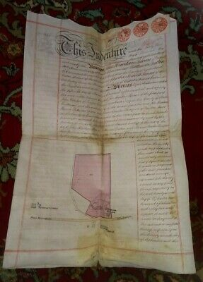 1896 vellum manuscript on sale of Dunkirk House & property in KENT with MAP