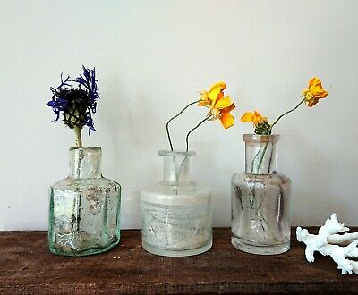 3 x Antique Vintage Glass Bottles vase flower original apothecary shaped ink!!