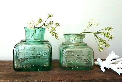 2 x Antique Vintage Glass Bottles vase flower original apothecary Fields ink!!