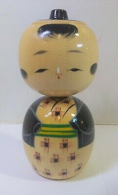 "Vintage JAPANESE KOKESHI BOY DOLL Hand Painted Wood 4.75"" Tall"