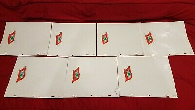 Super Mario World Animation Cel Dic Nintendo Dinosaur Flag Lot 7x 1991