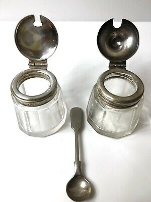 Antique Vintage Glass Mustard Pot With Silver Plated Hinged Lid & Ashbery Spoon