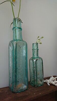 2 x Antique Vintage Glass Bottles vase flower original apothecary daddies sauce