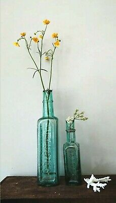 2 x Antique Vintage Glass Bottles vase flower original apothecary daddies sauce!