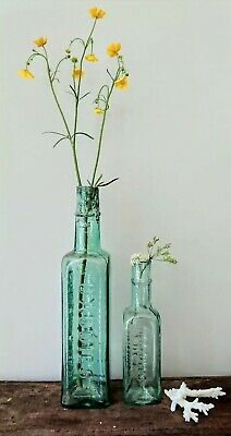 2 x Antique Vintage Glass Bottles vase flower original apothecary daddies sauce.