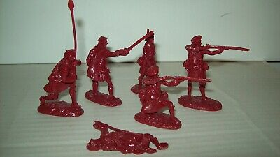 Six original resin cast Barzso O/P French & Indian War Highlanders in maroon
