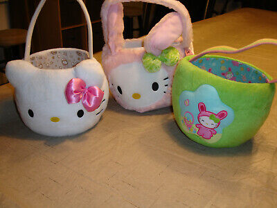 Hello Kitty Sanrio Easter basket lot of 3, Plush, Excellent to near mint.