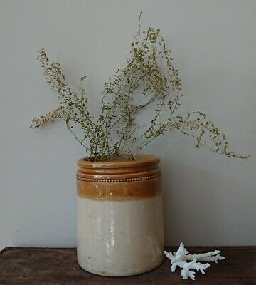 Medium Stoneware Vintage Earthenware Jar Pot Pencil utensil pot vase cream old