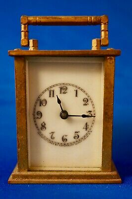 Antique WATERBURY CLOCK CO., Small Brass and Glass Carriage Clock, Patent 1907