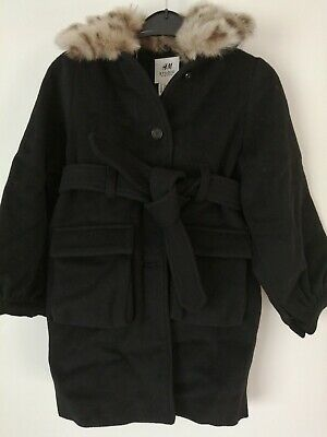 H&m Girl's Studio Collection Black Wool Blend Coat With Faux Fur Size 5-6 Years