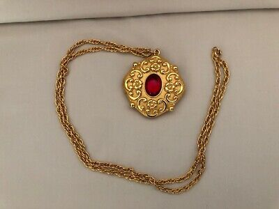 Vintage Gold Revlon Solid Perfume Necklace with Red Cabochon