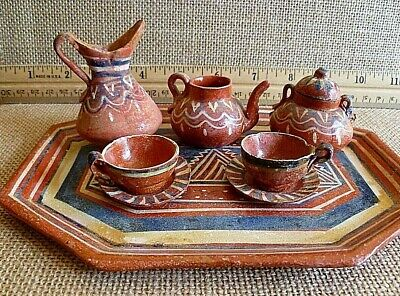 Vintage Rustic Miniature Mexican Pottery Coffee/Tea and Pitcher Set with Tray