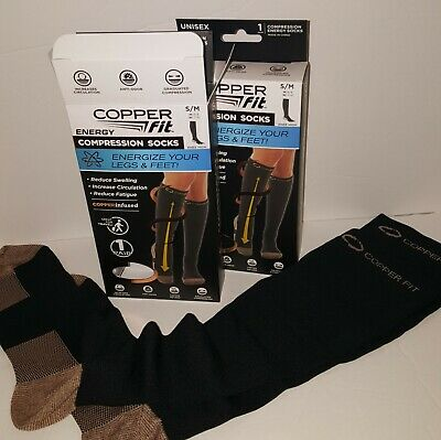 2 Pairs - Copper Fit Energy Compression Socks, Black, M 6-9 / W 7-10  KNEE HIGH