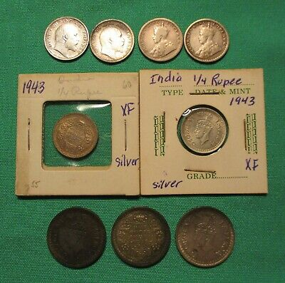 Silver Coin lot INDIA 1906 - 1945 Crowned King George V very good cond. 9 coins