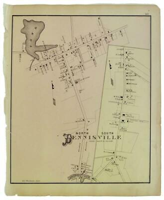 1878 Original Lithograph Map Dennisville Cape May County New Jersey