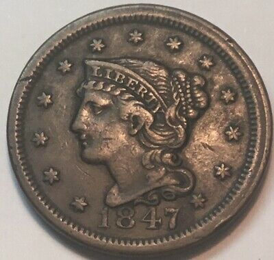 1847 Large 1C Full Liberty With Sharp Hairlines A Very Choice Coin