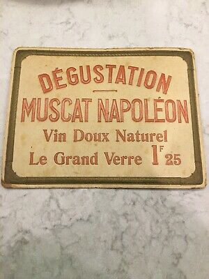 Rare Antique Vin Muscat Napoleon : French Wine Cardboard Advertising Sign Poster