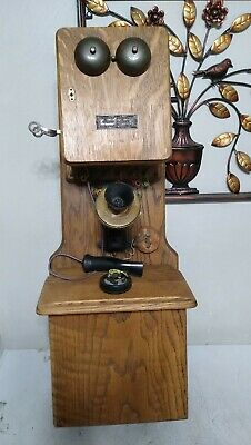 Antique Oak Long Case Chicago Telephone Supply Company Wall Mount Phone