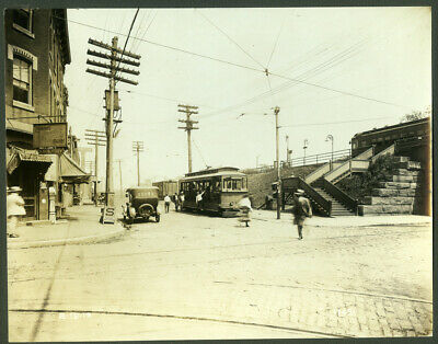 GREAT 10X12 Real Photo Chester PA Open Air Trolley Cinco Cigar Sign Tollins 1919