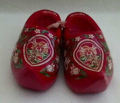 Holland hand made red wooden shoes