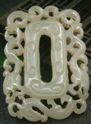 Chinese Antique Celadon Nephrite Hetian-OLD Jade DRAGON Statues/Pendant389
