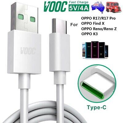Genuine OPPO VOOC Type-C Fast Charger USB-C Cable For OPPO Find X R17 Reno 2 3 Z