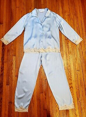 Victoria Secret Pale Blue Silk Pajamas With Beige Lace Trim.size S