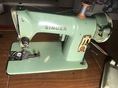 Vintage Singer 185J Mint Green Sewing Machine w/ Sewing Table Compartment- Works