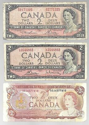 Canada Two Dollar $2 Combo - 6 Different $2 Notes (1954-1986)